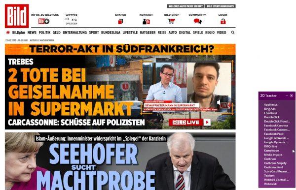 """Rechts im Bild die """"Tracker"""" bei bild.de"""