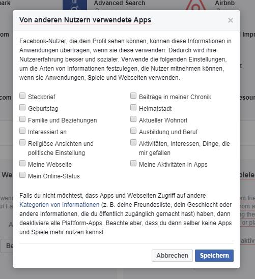 Datenfreigaben für Apps bei Facebook