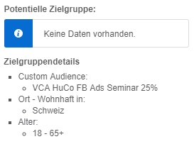 "Keine ""Estimated Reach"" für Custom Audiences"