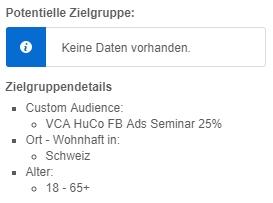 "Keine ""Estimated Reach"" für Custom Audiences"