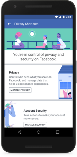 Privacy Shortcut-Menü (Quelle: Facebook)