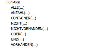 """Filterfunktion """"Funktionen"""" (Quelle: AdWords Editor)"""