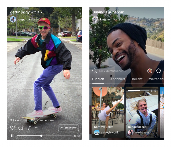 Screen-Ansichten IGTV (Quelle: Instagram)