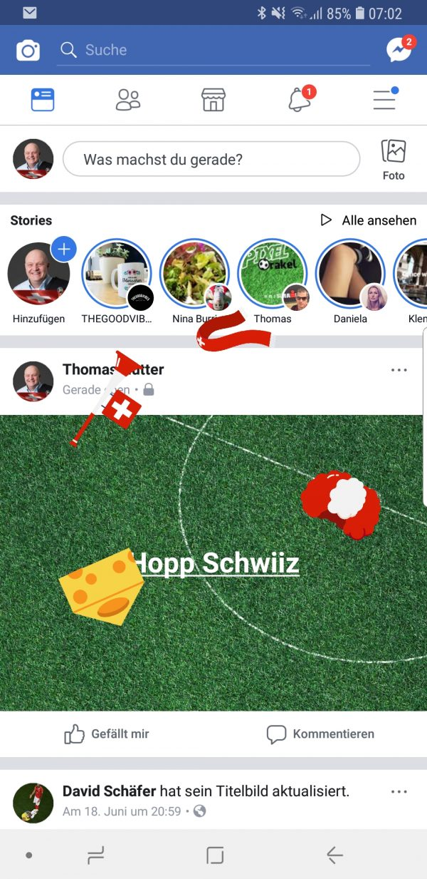 """Animation """"Hopp Schwiiz"""" auf Facebook"""