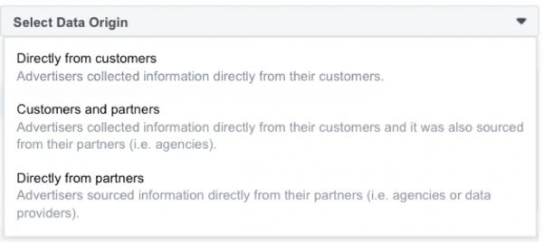 Deklaration der Datenherkunft für Custom Audiences (Quelle: Facebook)