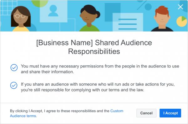 Partnerschaftsbekundung im Business Manager bei der Nutzung von geteilten Custom Audiences (Quelle: Facebook)