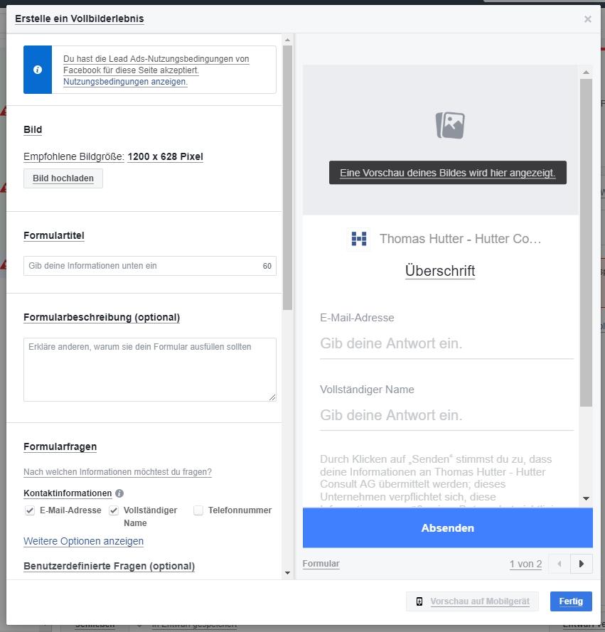 Facebook: Lead Form innerhalb von Canvas Ads erstellen