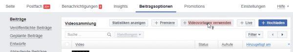 Das Video Creation Kit in der Facebook Seite in den Beitragsoptionen bei Videos