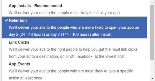 Optimierungsmöglichkeiten für App-Kampagnen (Quelle: Facebook)