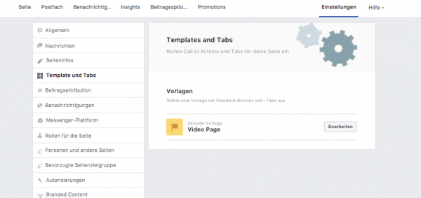 Video Template in den Seiteneinstellungen (Quelle: Facebook)