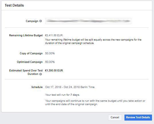 Automatische Ermittlung von Budget und Laufzeit (Quelle: Facebook)