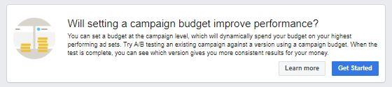 Performance Verbesserung durch Festlegung eines Kampagnenbudgets (Quelle: Facebook)