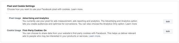 Einstellungen zum Facebook Pixel