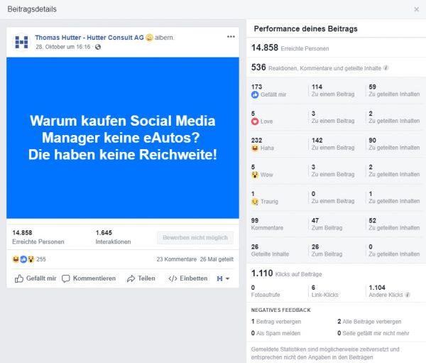 """Screenshot Preformance-Daten Facebook Beitrag """"Flachwitz"""" vom 28.10.2018"""