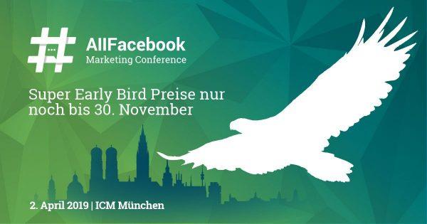 Super Early Bird Tickets der AFBMC gibt es noch bis zum 30.11.18 - mit dem Code HUTTERAFBMC gibt es 15% Rabatt!