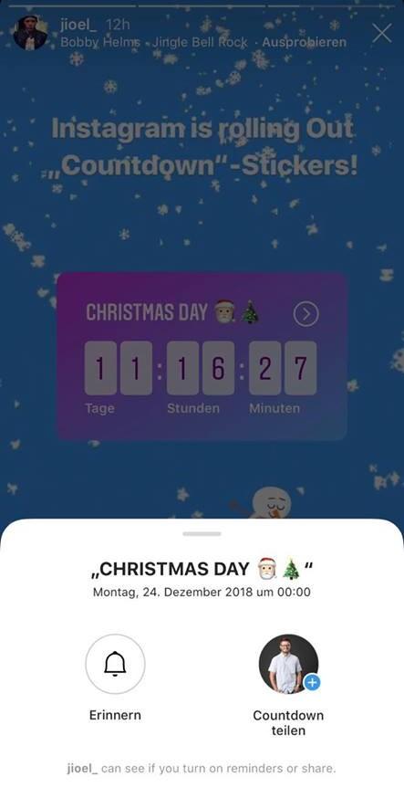 Möglichkeiten für Follower bei Countdown-Stickern (Quelle: Hutter Consult AG)