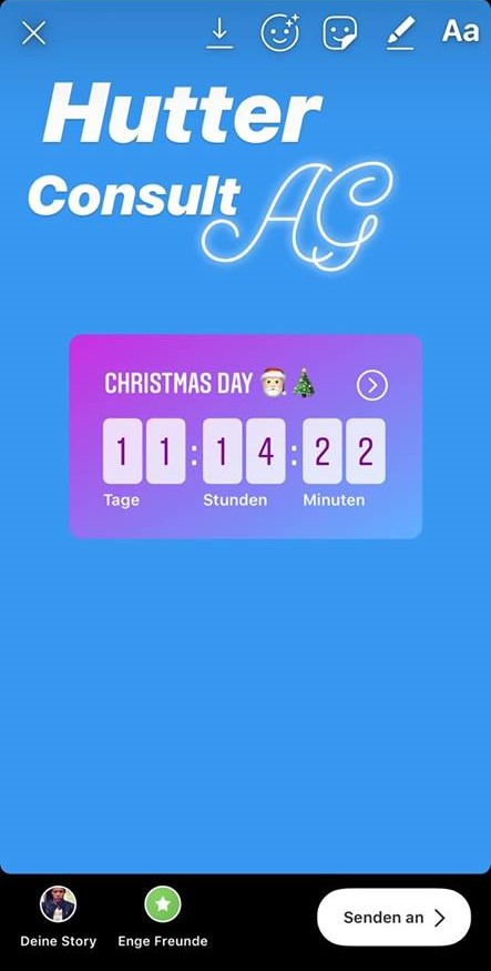 Instagram Story mit Countdown-Sticker (Quelle: Hutter Consult AG)