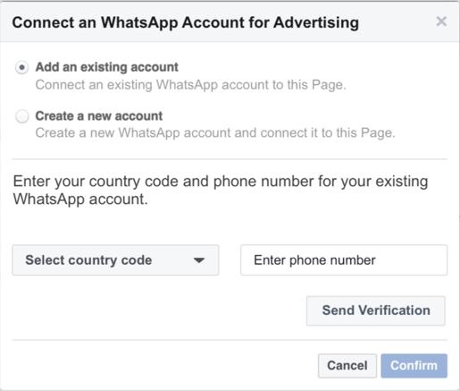 Whatsapp for Business mit dem Werbeanzeigenmanager verknüpfen - Schritt 1 (Quelle: Facebook)