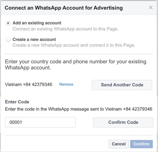 Whatsapp for Business mit dem Werbeanzeigenmanager verknüpfen - Schritt 2 (Quelle: Facebook)