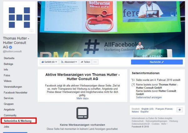Seiteninfos und Werbung (Quelle: Facebook)