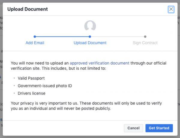 Verifizierungsprozess Schritt 3 (Quelle: Facebook)