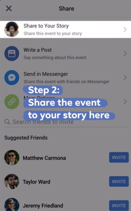 Share events to Stories (Quelle: Facebook)