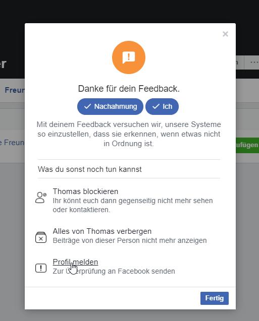 Facebook Profil melden