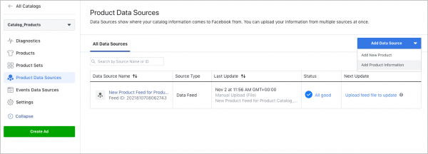 Product Data Sources (Quelle: Facebook)