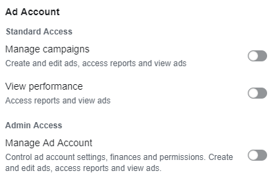 Berechtigungen Ad Account (Quelle: Facebook)