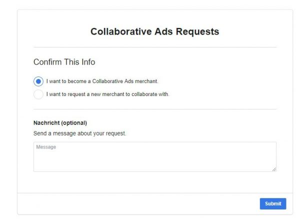 Collaborative Ads Anfrage (Quelle: Facebook)