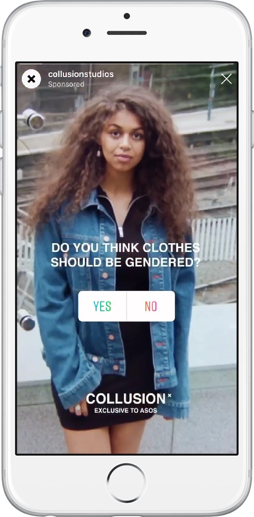 Beispiel einer Umfrage in Stories bei ASOS (Quelle: Instagram)