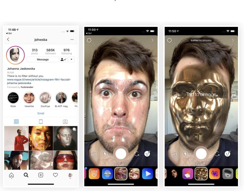 Instagram: Exklusive und einzigartige AR-Filters, die die