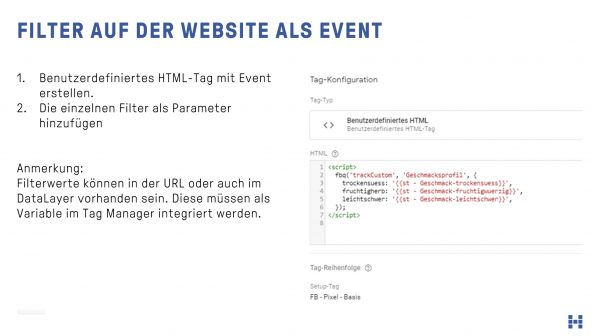 Filtereinstellungen auf der Website als Event an das Facebook Pixel übergeben
