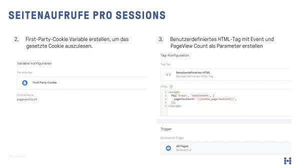 Seitenaufrufe pro Session an Facebook Pixel übergeben
