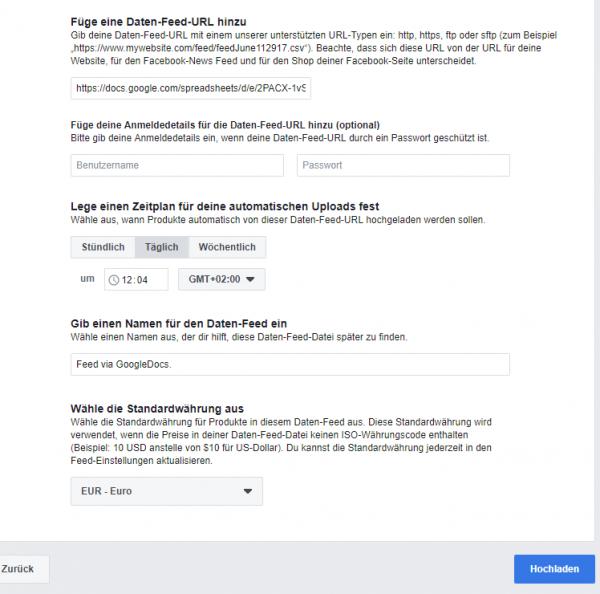 Facebook Daten-Feed über Google
