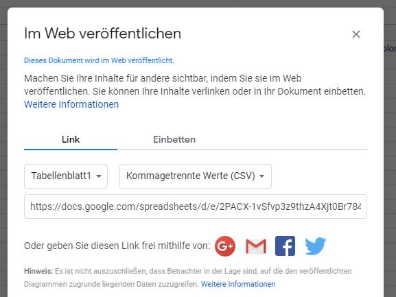 Google Sheet im Web publizieren