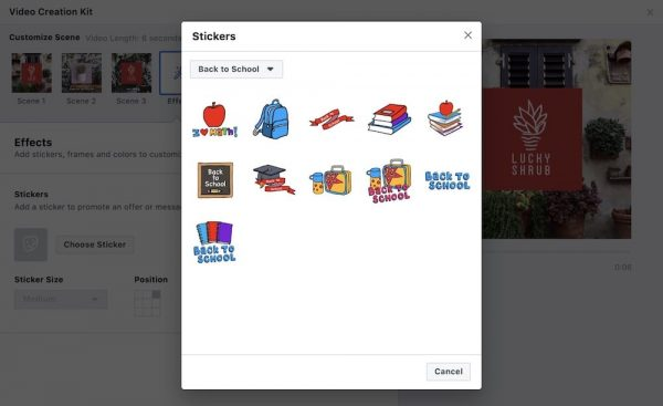 Stickers im Video Creation Kit (Quelle: Facebook)