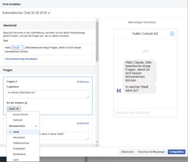 Facebook: Automatischer Chat - Chatbot-Builder
