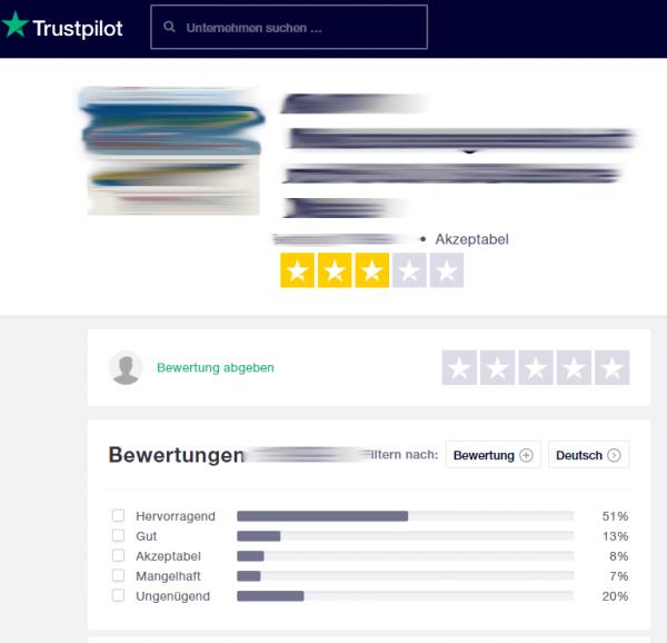 Bewertungen bei trustpilot.com