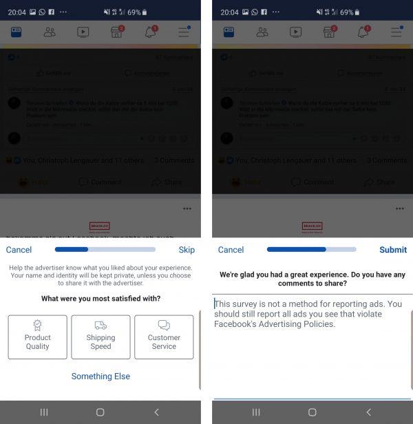 Einholung von Kundenfeedback durch Facebook