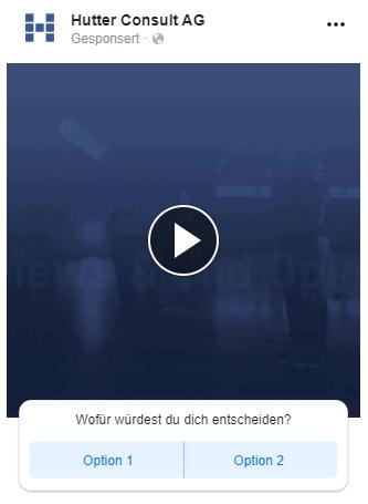 Screenshot - Beispiel Facebook Video Umfrage Werbeanzeige (Quelle: Facebook)