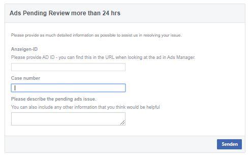 Ads Pending Review Formular (Quelle: Facebook)