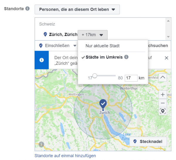 Screenshot: Geo Targeting Facebook Business Manager