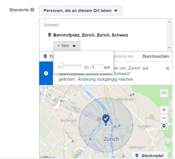 Screenshot: Geo-Targeting Facebook Business Manager
