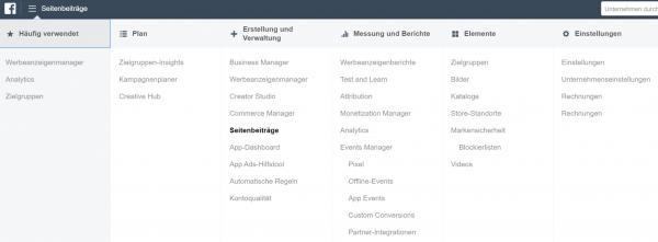 Screenshot: Funktion Seitenbeiträge im Facebook Business Manager
