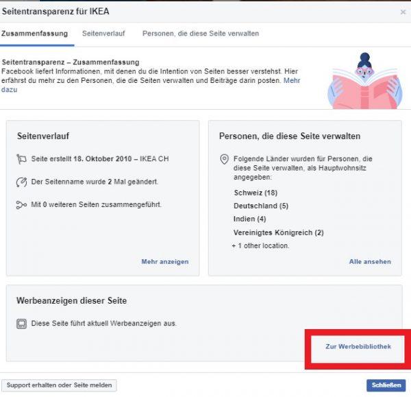 Seitentransparenz - Werbebibliothek