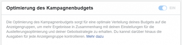 Screenshot: Kampagnen-Setup Facebook Business Manager