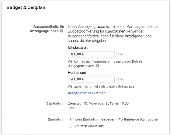 Screenshot: Ausgabenlimit im Facebook Business Manager