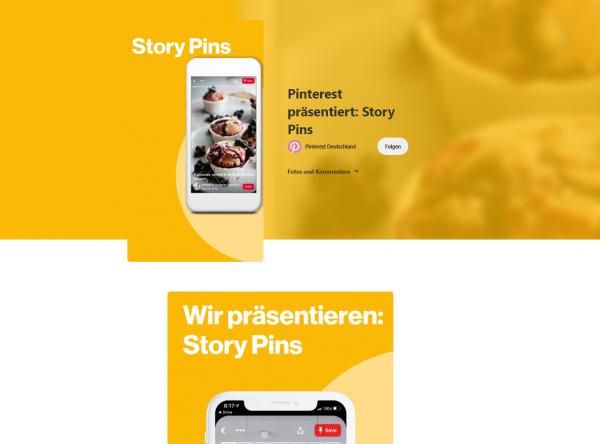 Story Pins in der Desktop-Ansicht (Quelle: Pinterest Deutschland)