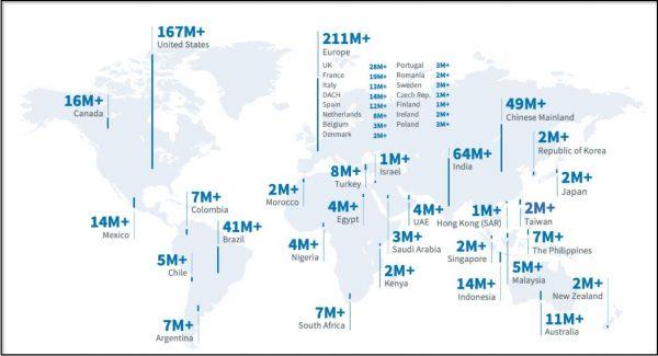 Übersicht der LinkedIn Mitglieder weltweit (Quelle: LinkedIn)